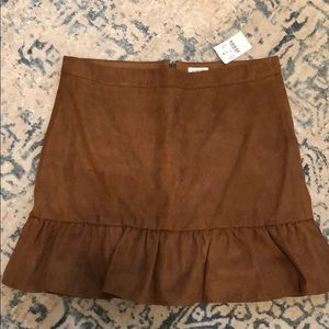 J.crew brown faux suede mini skirt size 8